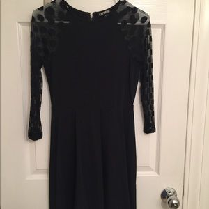 Express Dresses - Express Black dress sheer polka dot sleeves